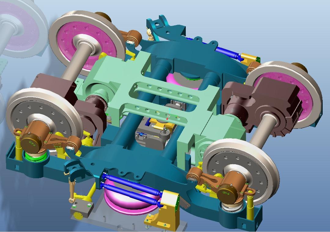 380高速动车组动力转向架装配体,主要结构有:轮对轴箱装置,构架组成