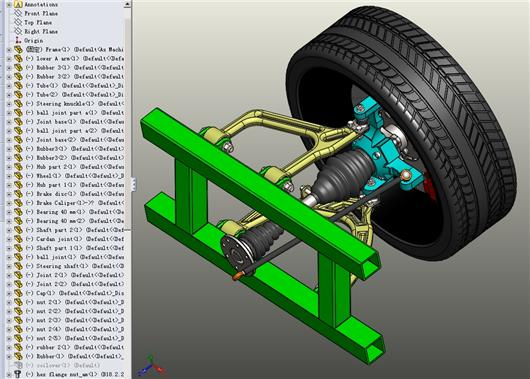 双叉臂式后悬架_双横臂式悬架3D模型下载_三维模型_SolidWorks、STL、Parasolid(.x_t)模型 ...