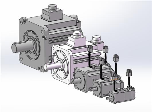 松下伺服电机 MHMF系列全套3D图 松下50W至5KW全部系列