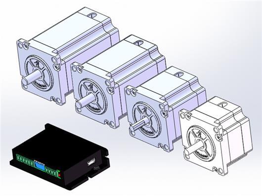 雷塞57CM步进电机 驱动器 制动马达 3D模型