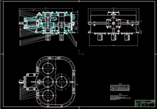 二级减速器箱体cad_立式二级圆锥圆柱齿轮减速器设计-课程设计图纸下载_工程图纸 ...
