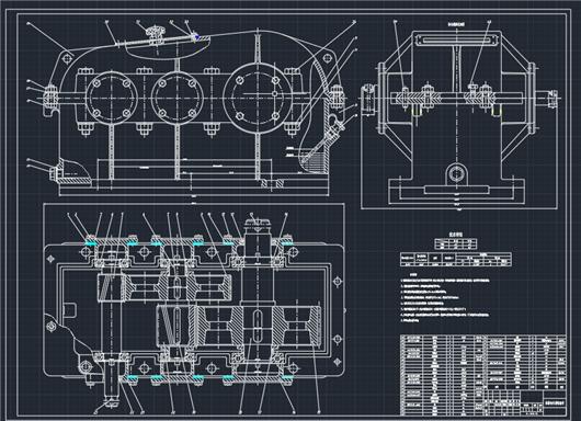 二级减速器箱体cad_二级圆柱齿轮减速器设计全套图纸图纸下载_工程图纸_CAD图纸 ...